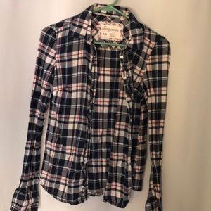 Juniors girls button down plaid shirt